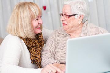 Grandmother watching her daughter