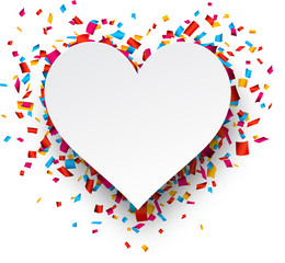 Paper heart love confetti sign.