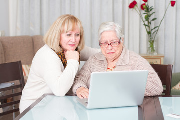 Grandmother and daughter using computer at home