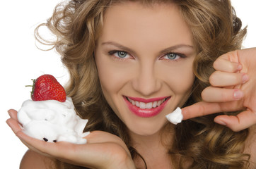 Smiling woman with strawberries and cream
