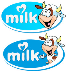 blue vector milk logo with cow