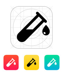 Drop from test tube icon. Vector illustration.