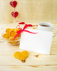 Card with blank Letter and Cookies in the Shape of Heart at Vale