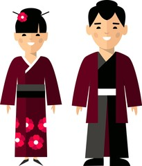 Vector illustration of japanese male and female
