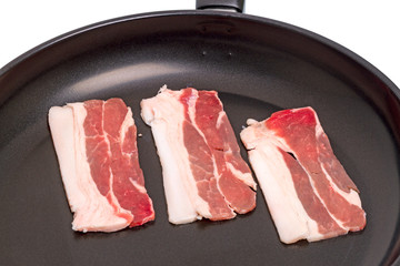 Pieces of bacon in a frying pan
