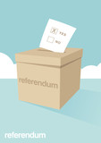 A ballot box for voting in a referendum poster