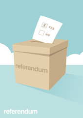 A ballot box for voting in a referendum