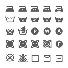 Set of washing symbols. Laundry icons isolated on white