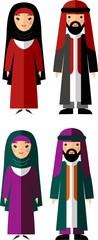 Set of  arabic male and female dressed in national costumes