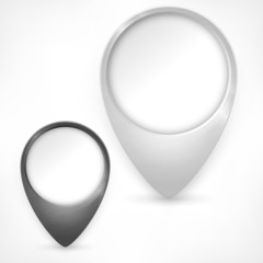 Map pointers, two GPS markers on white, vector illustration