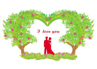 silhouette of romantic couple