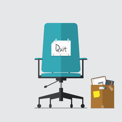 Business chair with quit message from employee