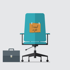 Business chair with I need job message on cardboard