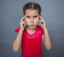 Teen girl child migraine headache on gray background