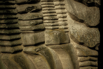 Aztec stone wall with hieroglyphics - ancient background