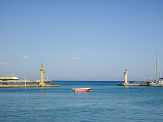 Gate of Rhodes harbor in Greece