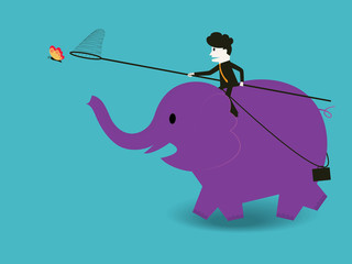 businessman to ride an elephant to catch a butterfly