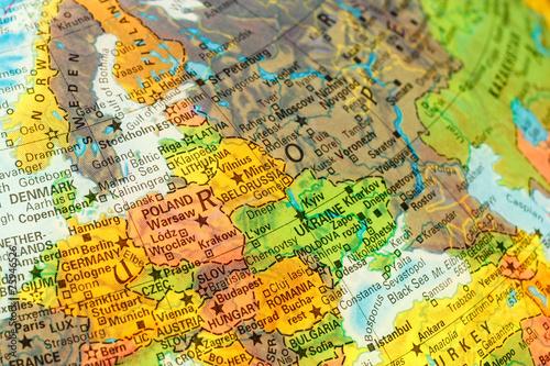 In de dag Oost Europa map detail globe eastern Europe