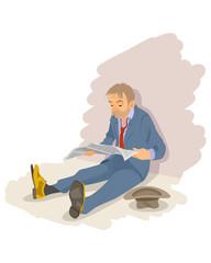 Unemployment man on the floor