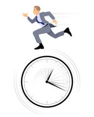 Businessman rushing on white