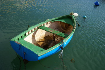 Empty fishing boat on the sea
