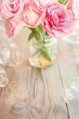 Light vertical background retro with roses