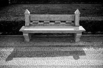stone bench in a city park. Garden architecture. tinted