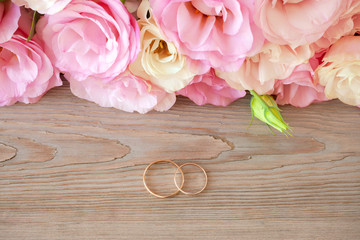 Vintage Wedding  background with gold Rings and beautiful flower