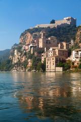 Miravet Castle and the Ebro river in Catalonia.