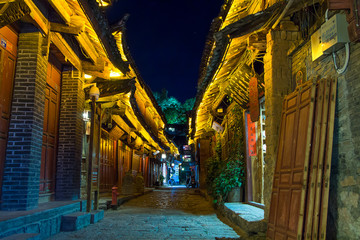 Lijiang ancient, lonely, desolate in night