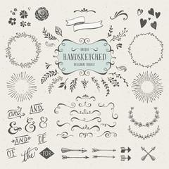 set of more than 60 hand-sketched design elements