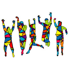 People jumping. Silhouette patterned in colorful mosaic backgrou
