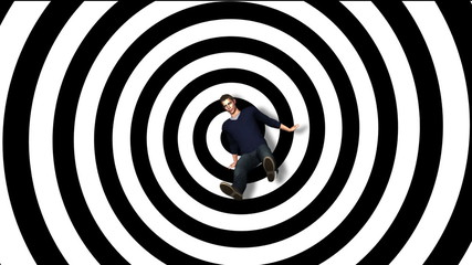 rotating black and white swirl pattern with Vertigo Falling Man