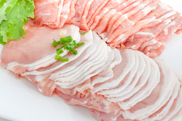 fresh raw pork slice
