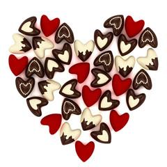 Valentine heart made of many small  hearts
