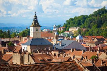 Old Brasov city buildings roof