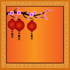 Chinese Lanterns with frame - Illustration