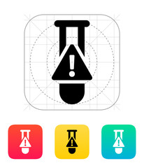 Test tube with warning sign icon. Vector illustration.