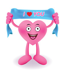 Cartoon Smiling heart with towel banner