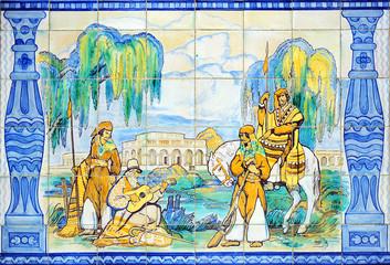 Gauchos scene, decorative tile