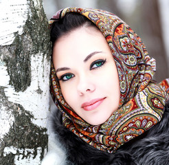 Pretty girl in shawl