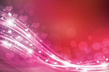 Valentine's day background in red colors with hearts.