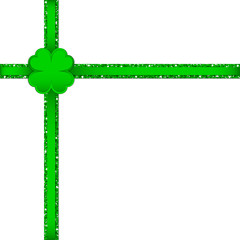 Clover Double Cross Ribbon Corner Green