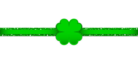 Clover Double Glitter Ribbon Horizontal Green