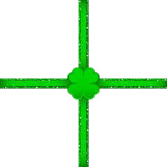 Clover Double Cross Ribbon Green