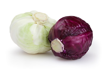 Cabbages isolated on white background with clipping path