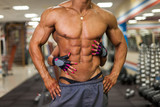 torso of athlete man in gym