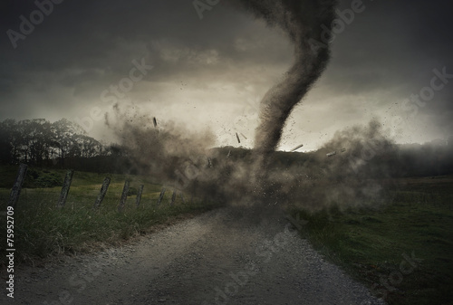 Foto op Canvas Onweer Tornado on road