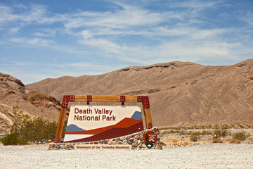 Death Valley National park, California USA entrance sign