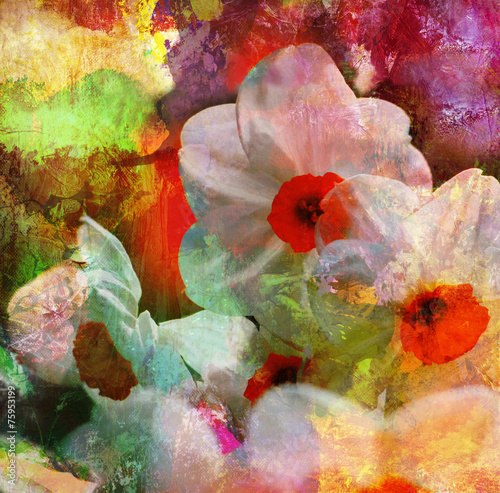 Foto op Aluminium Narcis narzissen malerei texturen